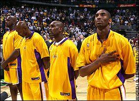 Shaquille O'Neal, Karl Malone, Gary Payton and Kobe Bryant