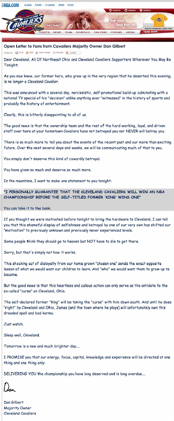 Dan Gilbert Letter To LeBron James