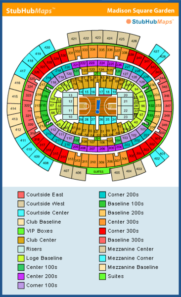 Madison square garden seating chart pictures directions and history new york knicks espn for Seating chart for madison square garden