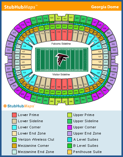 Georgia dome seating chart pictures directions and for Mercedes benz dome atlanta seating chart