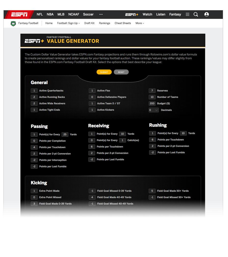 Fantasy Football Value Calculator Tool Fantasy Football Espn