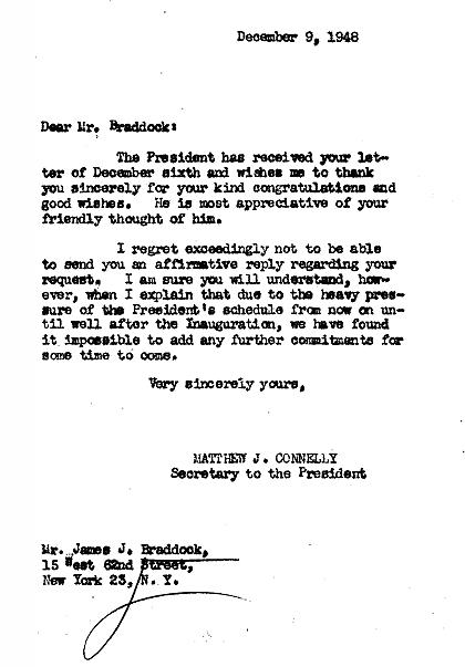 Letter from President Truman's office to Braddock