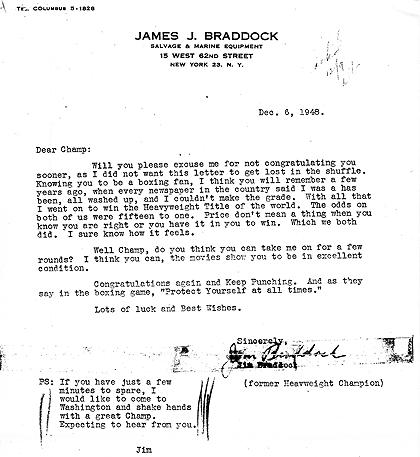 James Braddock's letter to Harry Truman