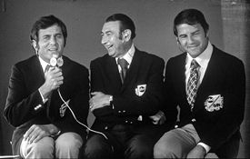 Howard Cosell, center, Don Meredith, left, and Frank Gifford.