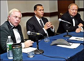 Buck Showalter,  Alex Rodriguez and Tom Hicks