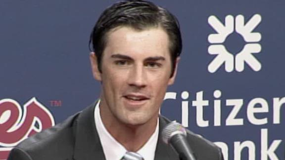 Cole Hammels at his press conference at Citizens Bank Park to announce his new contract extension with the Philadelphia Phillies.