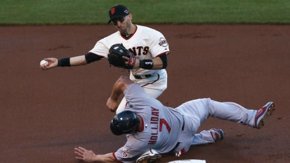Report: Giants 2B Scutaro has left hip strain