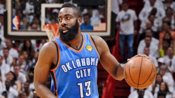 Thunder ship star sixth man Harden to Rockets