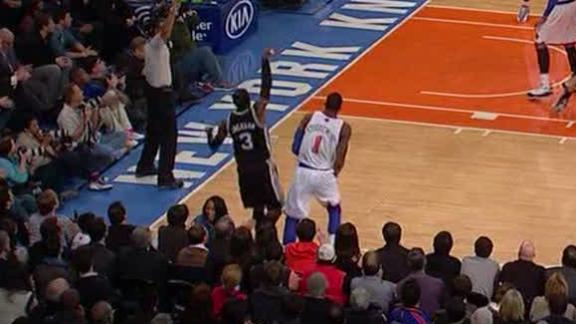 Video - Stephen Jackson Sprains Ankle After Tripping Over Courtside Waitr...
