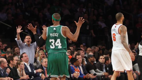 Pierce guides Rondo-less Celtics past Knicks