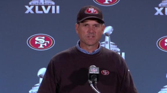 Video - Jim Harbaugh, 49ers Arrive At Super Bowl