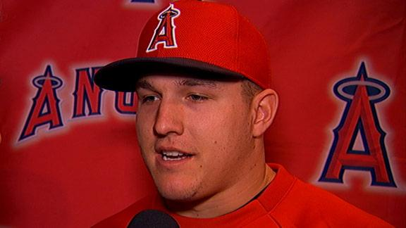 Trout takes high road on salary, switch to LF