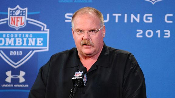 From the combine: Andy Reid gets a hug from his old Eagles budd…
