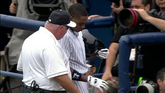 Yankees' Granderson leaves game after HBP