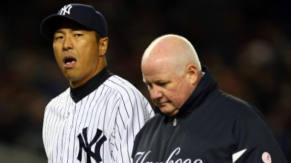Yankees' Kuroda (hand) exits in 2nd inning