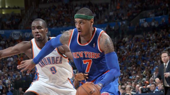 Knicks outlast Thunder for 12th straight win