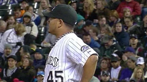 Chacin leaves Rockies' win early with injury
