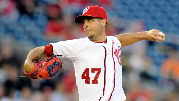 Gonzalez, Soriano combine on 1-hitter for Nats