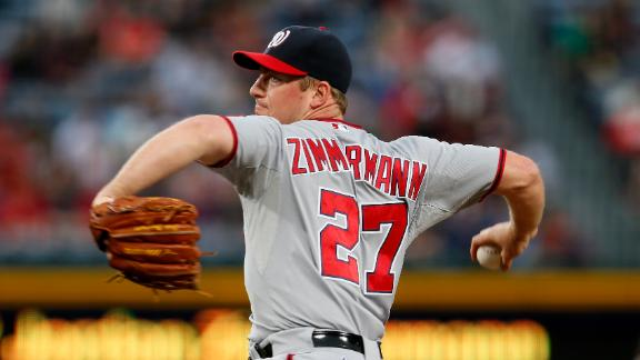 Zimmermann dominates Braves; Harper injured