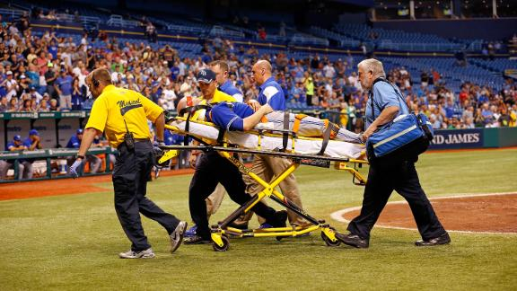 Video - Happ Hit By Line Drive, Taken To Hospital