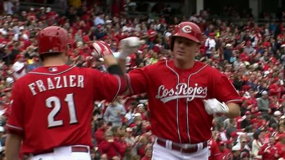 Bruce keeps heating up, leads Reds in rout of Crew