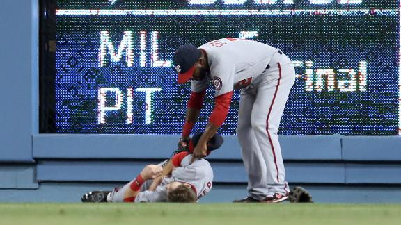 Video - Harper Injured After Collision  With Wall