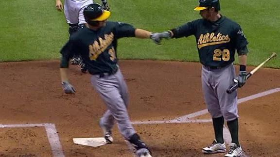 Video - A's Crush Brewers 10-2