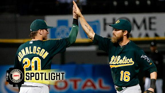 Donaldson bat, Reddick glove save Athletics