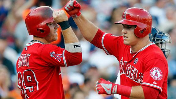 Trout, Angels net 8th straight win vs. Tigers
