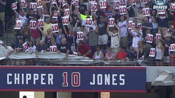 Braves retire Chipper's No. 10 before game