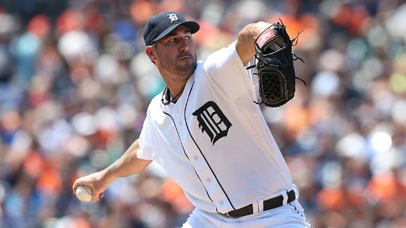 Verlander flirts with no-hitter as Tigers win