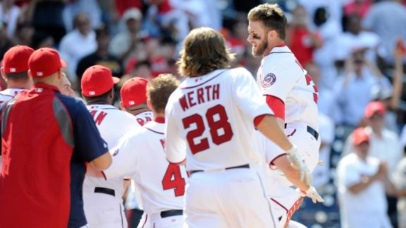 Harper's first walk-off HR halts Nats' slide