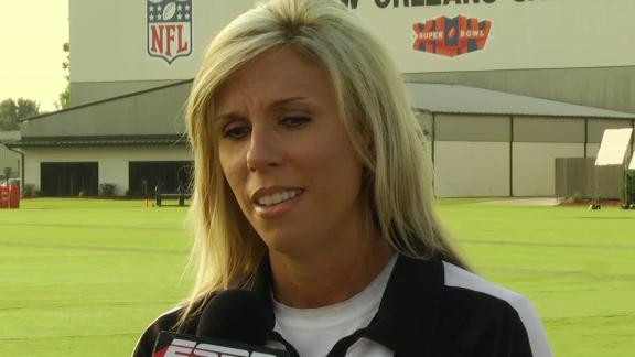 Female NFL official-in-training at Saints camp