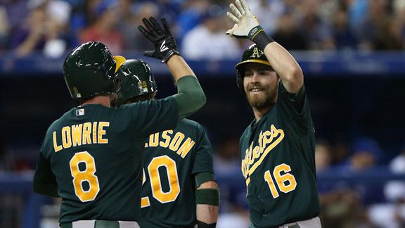 Reddick blasts 3 straight HRs as A's cruise
