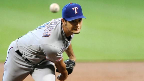 Darvish K's career-high 15, flirts with no-hitter
