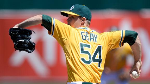 A's Gray strikes out 9 for first MLB victory