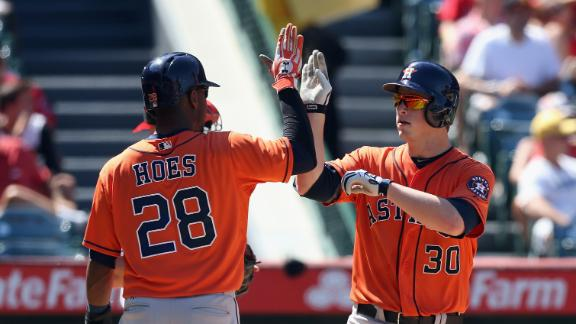 Ailing Trout departs Angels' loss to Astros