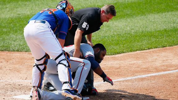 Heyward fractures jaw when hit by Mets' pitch