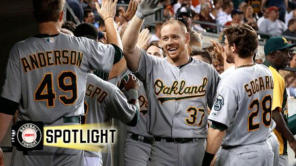 Video - Moss' Six-RBI Night Fuels A's Rout