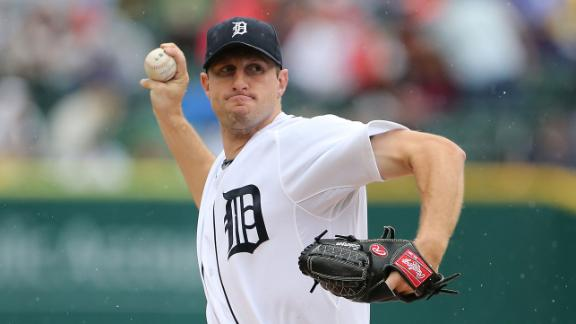 Scherzer K's 12 but denied 20th; Tigers rally