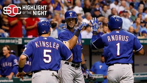 Rangers snap skid, tie Rays atop wild card