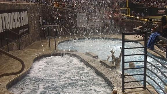 Video - Fountains go off at the Chase Field pool