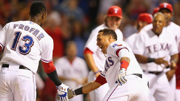 Rangers keep WC pace on Profar's pinch HR