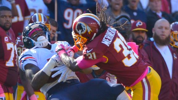Brandon Meriweather was suspended one game for this hit on Brandon Marshall