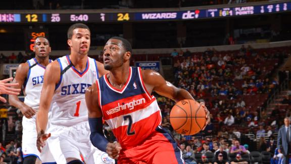 Wall leads Wizards past Sixers for first win