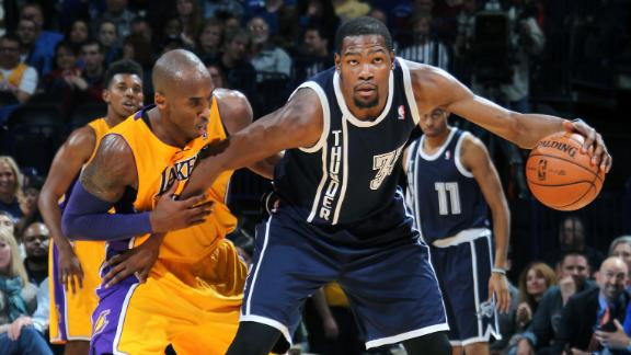 Durant, Thunder cruise, keep Kobe winless
