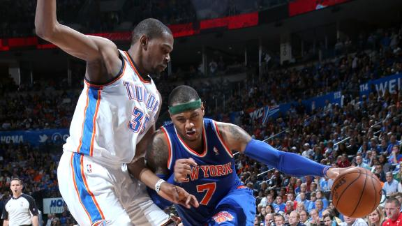 Melo won't play for Knicks because of ankle