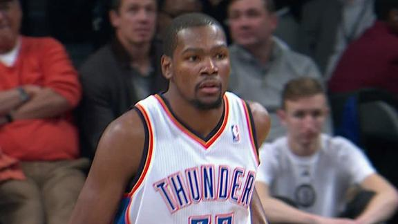 Durant's 30 streak ends as Thunder romp