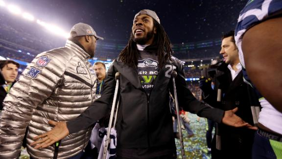 Sherman suffers high ankle sprain in victory