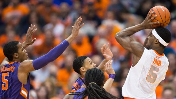 C.J. Fair shoots over three Clemson defenders